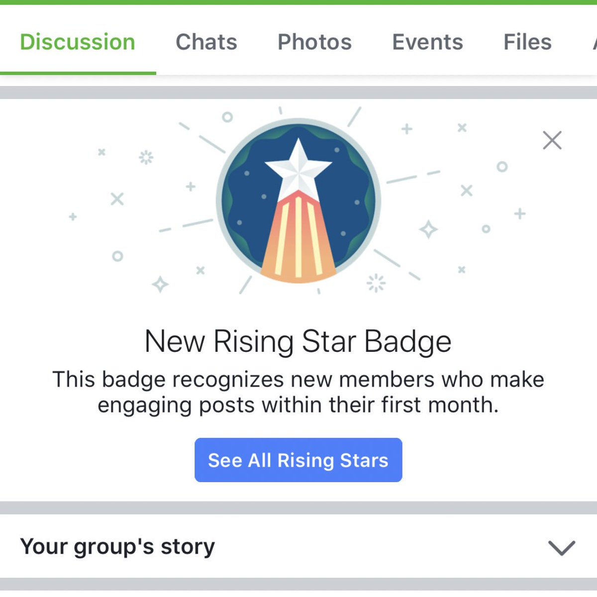 New Facebook Group badges - Rising Star and Visual Storyteller