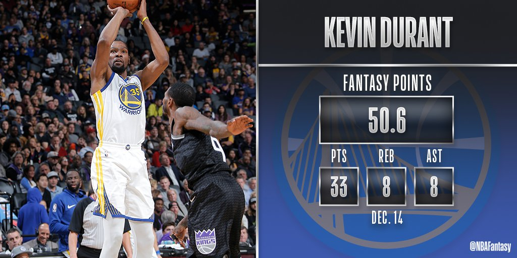 Kevin Durant nearly triple-doubles in a thrilling comeback victory for the @warriors in Sacramento!  #NBAFantasy