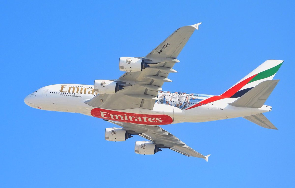 Being a partner and the official carrier of the team @realmadrid  @emirates #a380 A6-EUW New Livery #real_madrid team Take of From #dubai To #madrid  Move Team to the #abudhabi participate in the tournament #clubworldcup2018 #HalaMadrid @a380fanclub #uae #emirates
