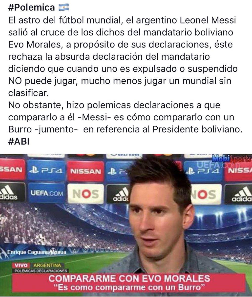 #Messi le dice a #EvoMorales que si lo expulsan del partido no puede jugar... ademas que es un burro... @evoespueblo #Bolivia ya te sacó tarjeta roja!!!