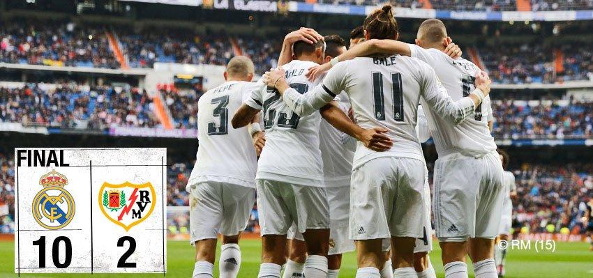 Terakhir kali El Real menjamu Rayo di Bernabeu, El Real berhasil menang telak dengan skor 10-2!  Gol di cetak oleh: @GarethBale11 ⚽⚽⚽⚽ @Benzema ⚽⚽⚽ Pemain Juve ⚽⚽ Danilo ⚽  °°° #RMLiga #HalaMadrid