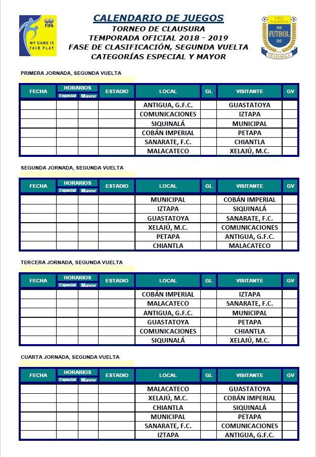Calendario Futbol 2019.Ligagt On Twitter Calendario Clausura 2019 Segunda Vuelta