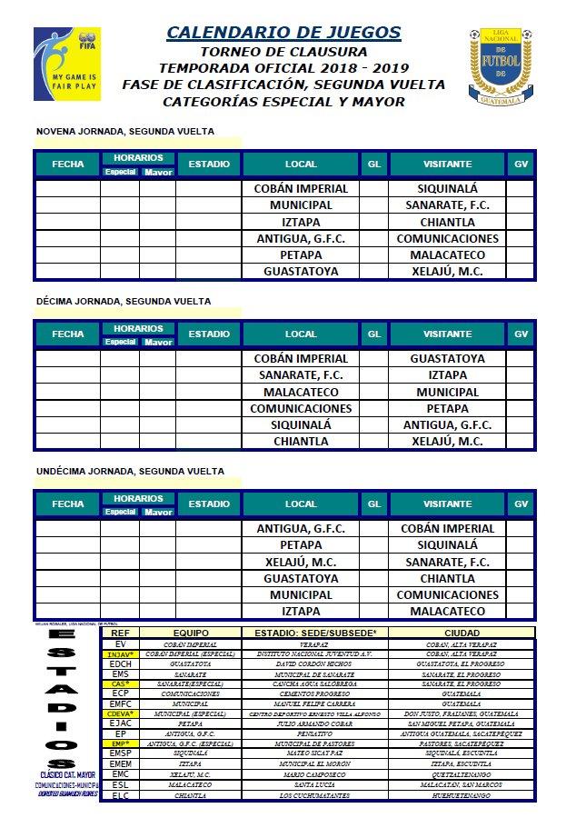 Santa Lucia Calendario.Ligagt On Twitter Calendario Clausura 2019 Segunda