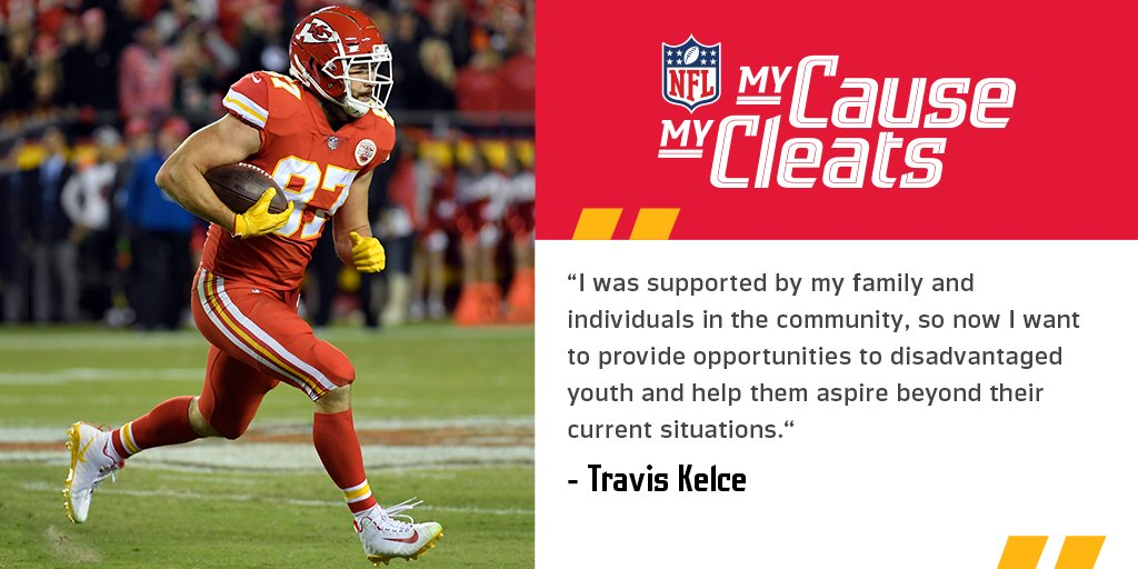 .@tkelce is supporting @87Running, an organization that helps provide resources and support to empower under-served youth. Learn more about NFL players' passions outside of the game: https://t.co/vJUzQTU6Zs #MyCauseMyCleats