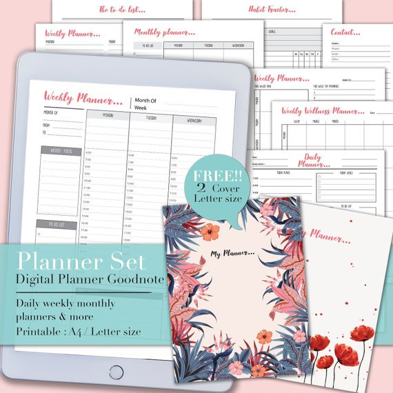 CreateStory2 Printable schedule Planner Set, Digital planner