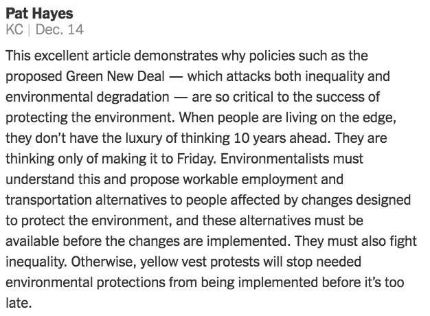 """""""When people are living on the edge, they don't have the luxury of thinking ten years ahead,"""" wrote Pat Hayes in a comment on the Op-Ed, """"Is Environmentalism Just for Rich People?"""" https://nyti.ms/2Evu8jt"""