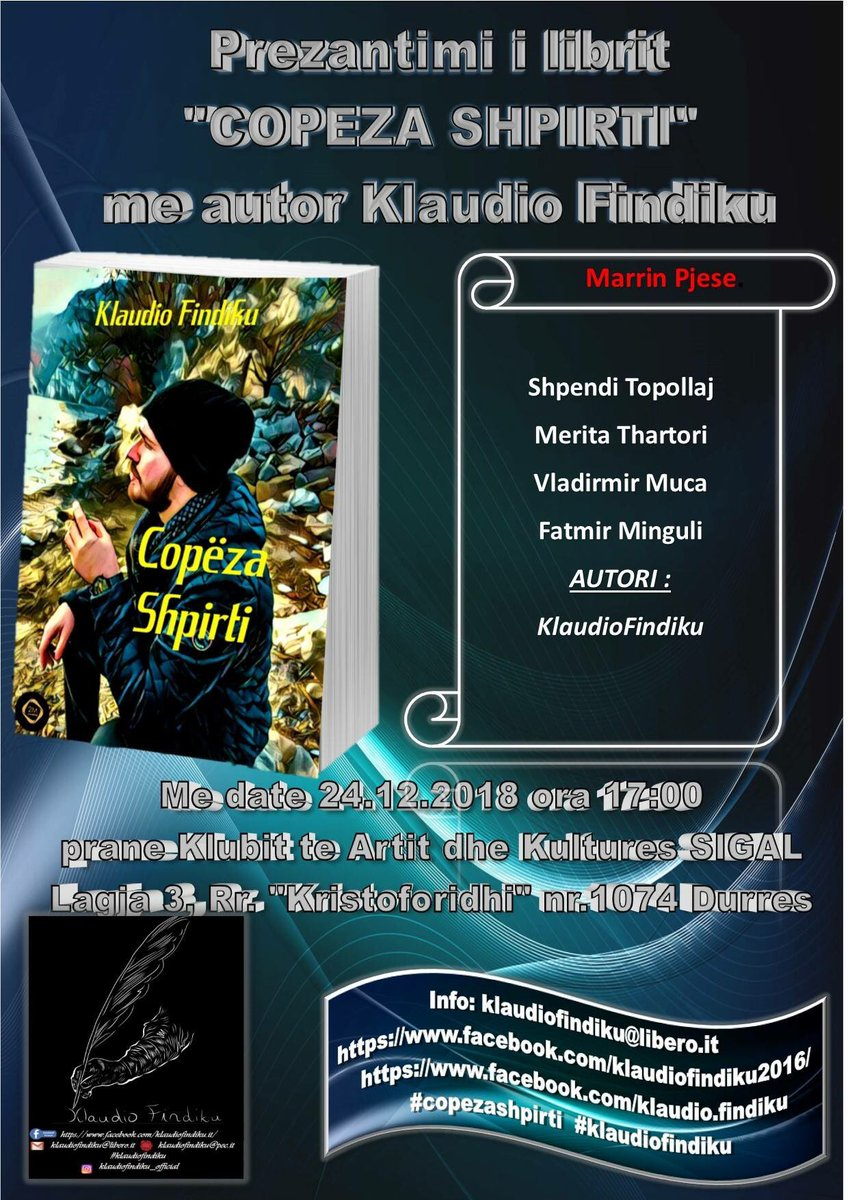 #klaudiofindiku #copezashpirti Klaudio Findiku Libri Copeza Shpirti Durres 24.12.2018