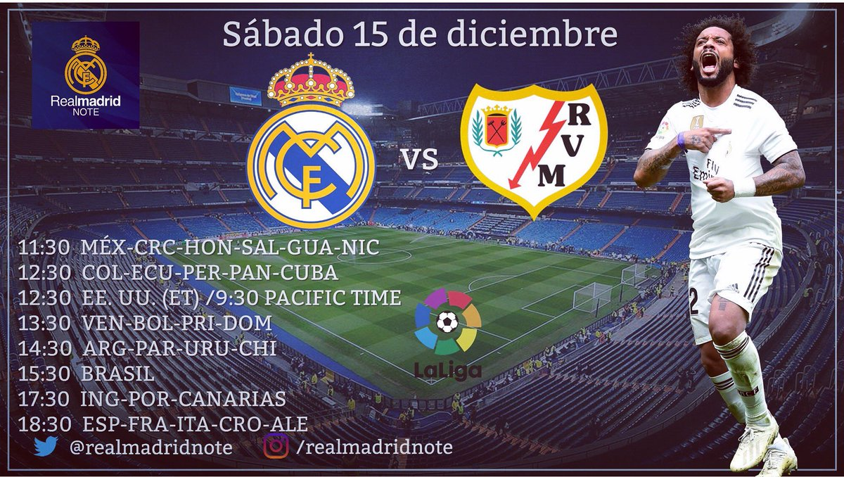 #LaLiga Santander - Jornada 16: -REAL MADRID vs Rayo Vallecano -Sábado 15 de diciembre -Estadio Santiago Bernabéu, Madrid -Horarios: #RealMadrid #Madrid #RMCity #RMLiga #LaLiga