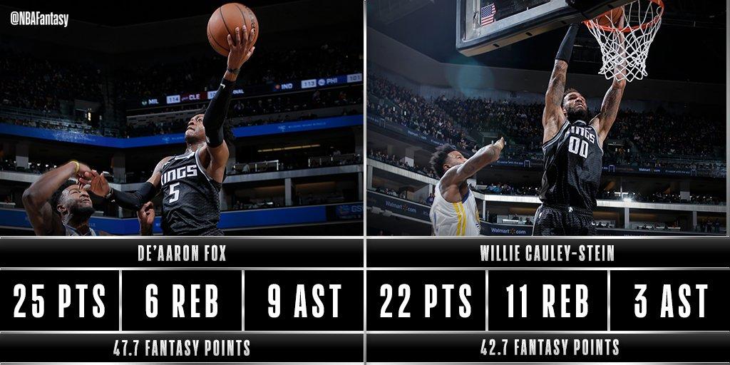 De'Aaron Fox & Willie Cauley-Stein both with over 40 #NBAFantasy points tonight in Sacramento for the @SacramentoKings.