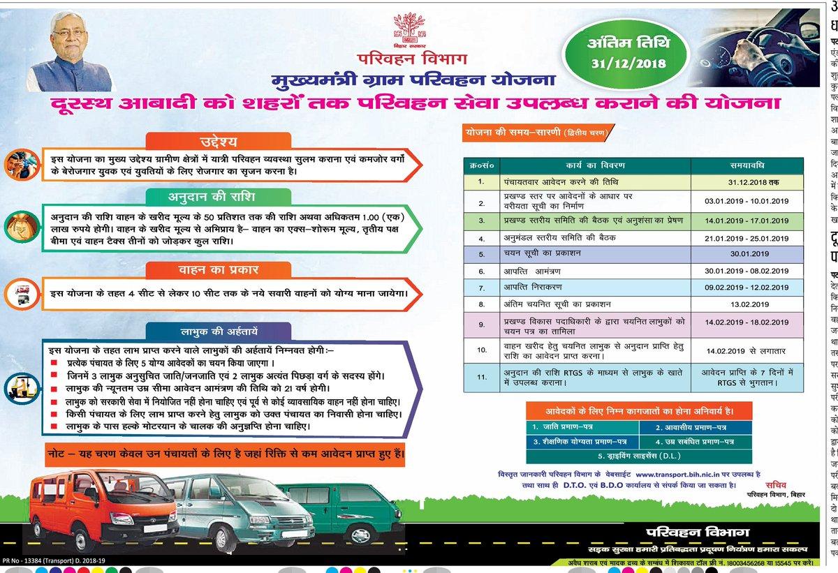 मुख्यमंत्री ग्राम परिवहन योजना दूरस्थ आबादी को शहरों तक परिवहन सेवा उपलब्ध कराने की योजना परिवहन विभाग बिहार सरकार #BiharTransportDept