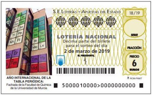 spain national lottery will honor the year of the periodic table chemistry dept at universidad de murcia umu has the main front wall dressed with the