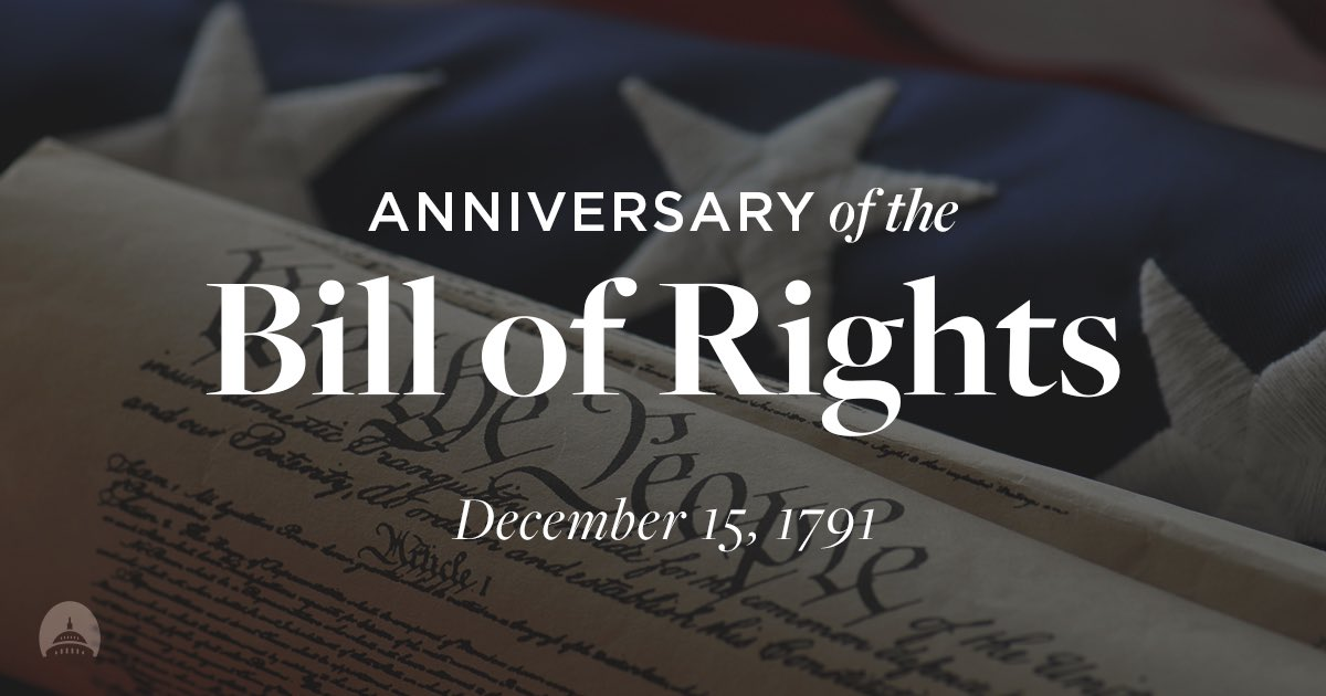 On December 15, 1791, the #BillOfRights was ratified. It is my hope that the U.S. will continue to be a place where our foundational principles guide our government. #BillOfRightsDayDay