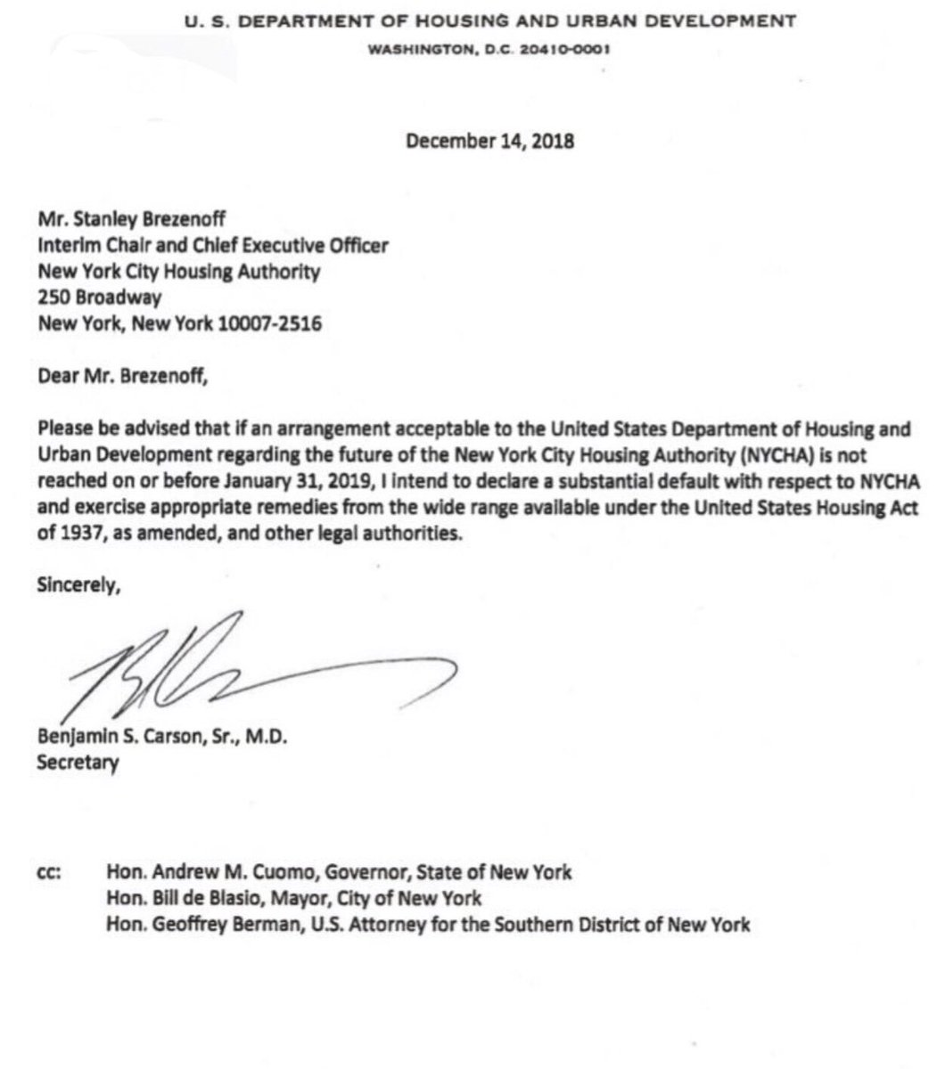 Delegation Letter | Lynne Patton Hud On Twitter Decrying A Receivership In A