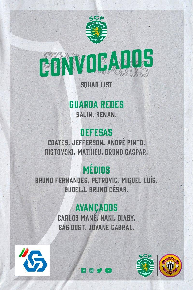 São estes os nossos convocados para o jogo de amanhã contra o @CDNacional ! 🦁  #SportingCP #LigaNOS