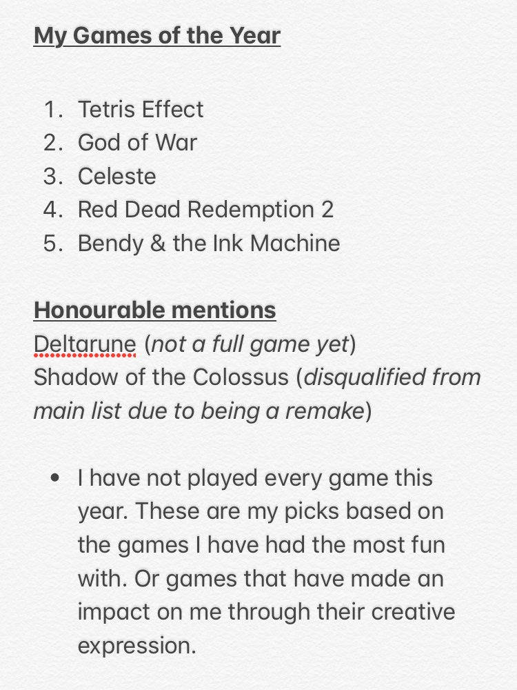 I was planning to make a video for my game of the year picks, but with this sickness it's unlikley I'll have the time. I need to focus on more important videos when I get back to work on Monday. So I've posted them as a tweet. I urge you to check these awesome games out! #GOTY