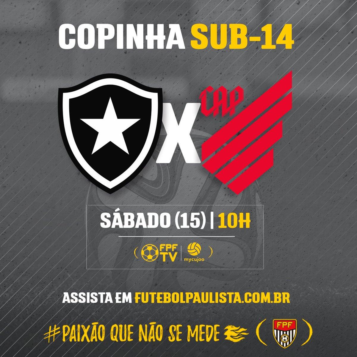 SÁBADO DE FUTEBOL! Botafogo e Athletico-PR se encontram em jogo da Copinha Sub-14. E você confere a partida ao vivo. Link do jogo 👉https://t.co/mFASHB9f8o #PaixãoQueNãoSeMede #FPF #FutebolPaulista #EsseÉoMeuJogo