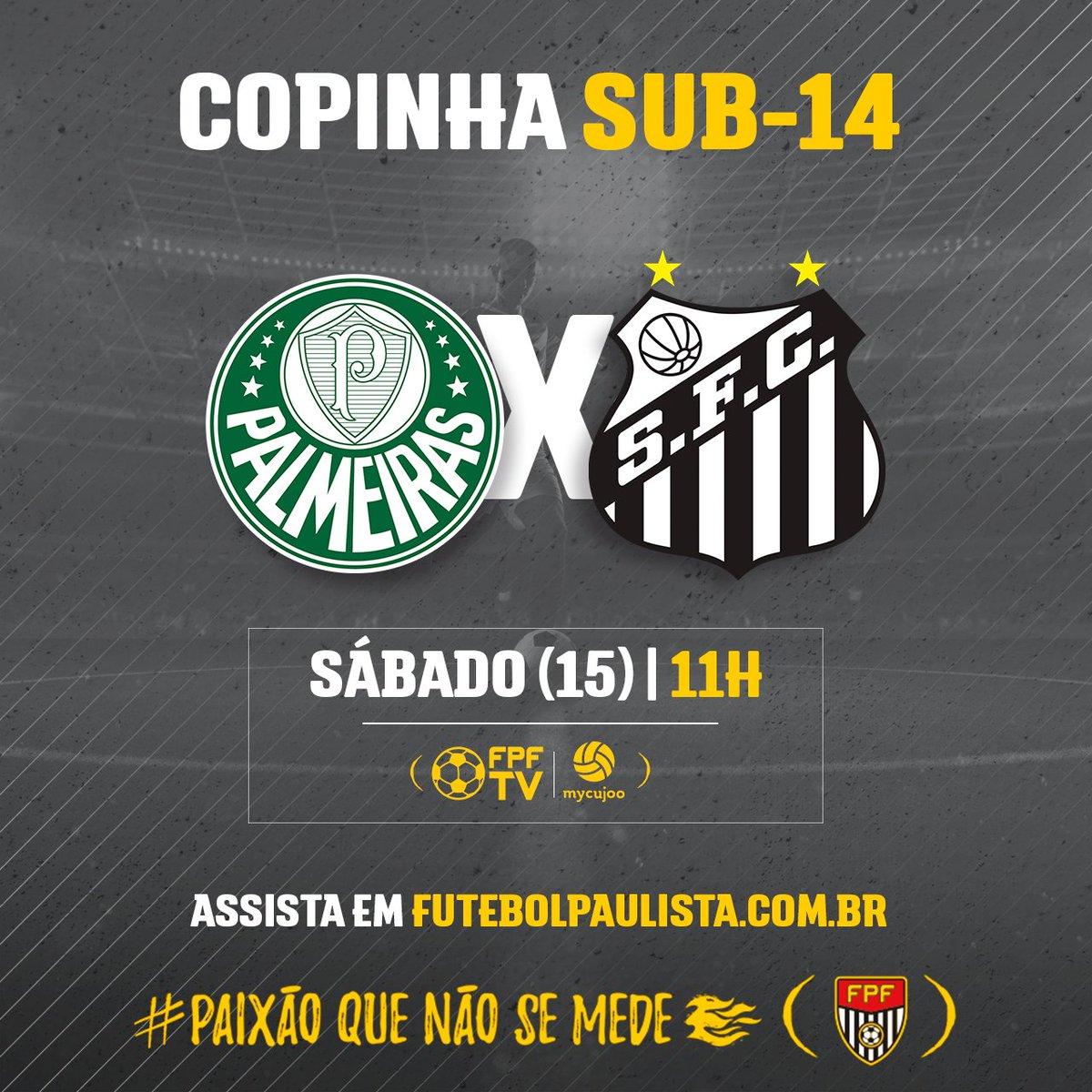 CLÁSSICO NA BASE! Palmeiras e Santos fazem o duelo paulista deste sábado (15), em jogo da Copinha Sub-14. E você confere a partida, ao vivo, na FPF TV. Link do jogo👉https://t.co/Wd8cnGfWqn #PaixãoQueNãoSeMede #FPF #FutebolPaulista #EsseÉoMeuJogo