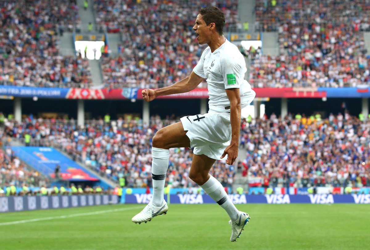 @raphaelvarane 💪 banished his demons from t #WorldCuphe  quarter-final four years ago to help powe @FrenchTeamr 🇫🇷 pa @Uruguayst 🇺🇾 and into the semis!