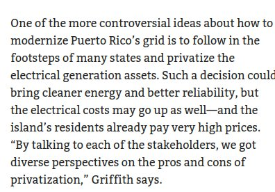 12 MBA students from @TuckSchool are studying Puerto Rico's electric power recovery after Hurricane Maria. They note privatizing may lead to increases in the cost of electricity ~~ which makes sense because you have to pay 'profit'.  https://t.co/aWrZBIffV7 #muniland