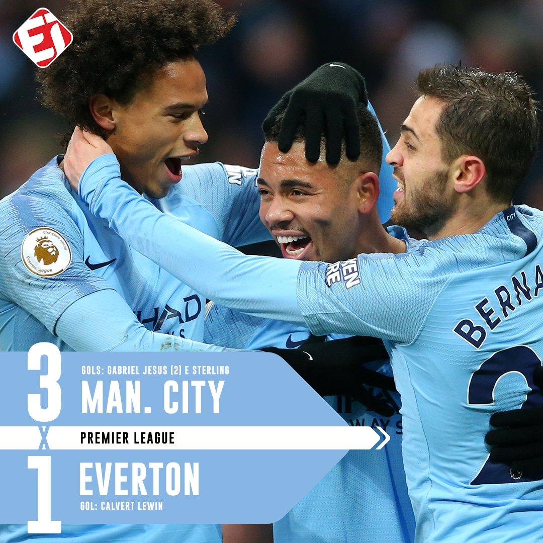 FIIIIIIIIIM DE JOGO! Com boa atuação de Gabriel Jesus, que marcou dois gols, o Manchester City vence o Everton e dorme na liderança da Premier League! Será que o Liverpool recupera a ponta da tabela amanhã contra o United?