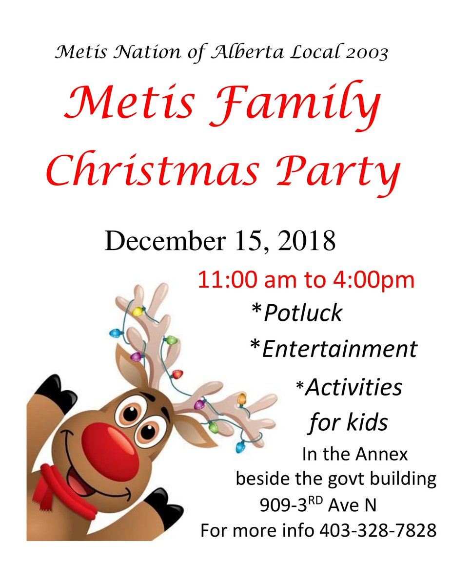 The Métis Nation of Alberta local 2003 in Lethbridge has a Christmas party today! If you're in the area, let them know you'll be attending at 403-328-7828. #abmetisproud #metis #merrychristmas