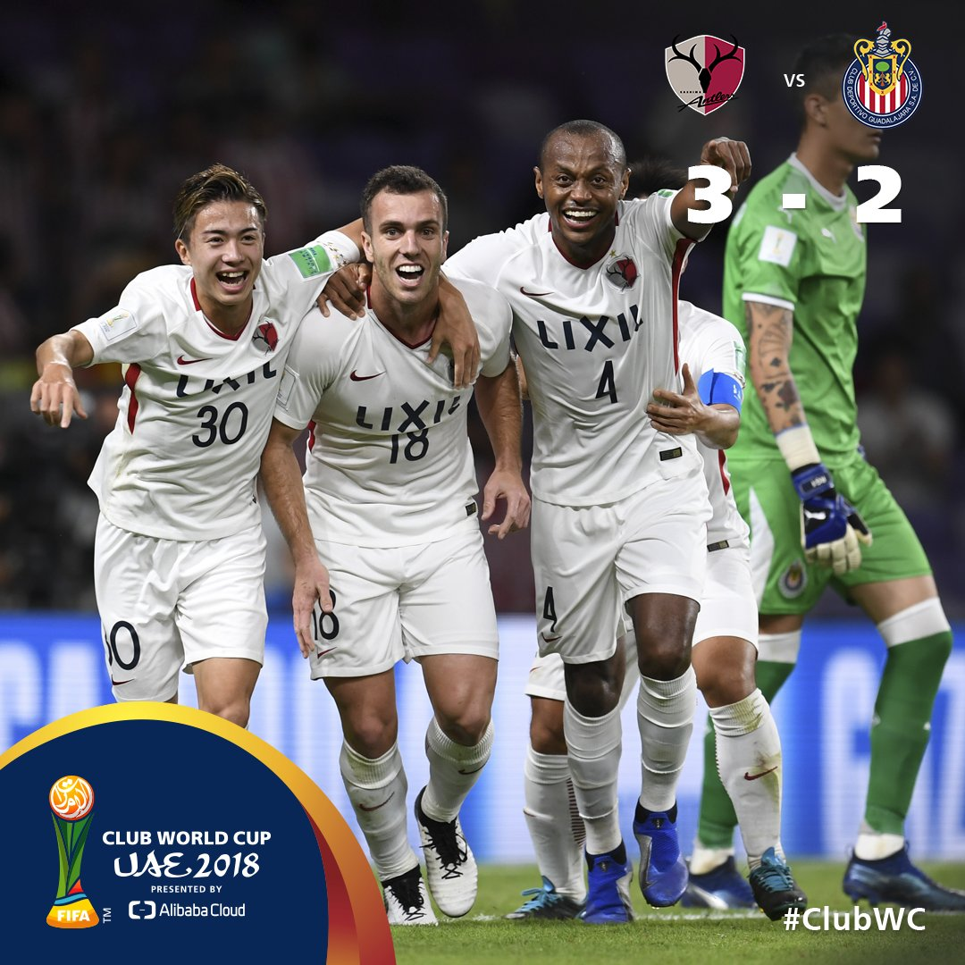 #ClubWC   FT  A second-half comeback sees Asian champions 🇯🇵@atlrs_english back into the semi-finals at the expense of 🇲🇽@Chivas, setting up a reunion with 🇪🇸@realmadriden!