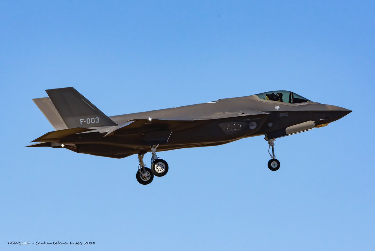 RNIAF F-35A (AN-03 / F-003) on final for runway 36 at NAS Fort Worth JRB after its first flight. @scramble_nl @JetPhotos #F35 <br>http://pic.twitter.com/4nxwuzJb0E