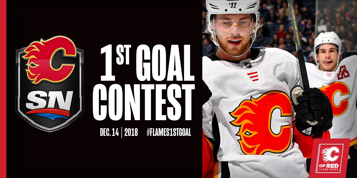 It's @Sportsnet Flames 1st Goal time! Tell us who you think will score our first goal tonight for a chance to win tickets to our game vs. Vancouver on Dec. 29! Use the hashtag #Flames1stGoal with your guess!