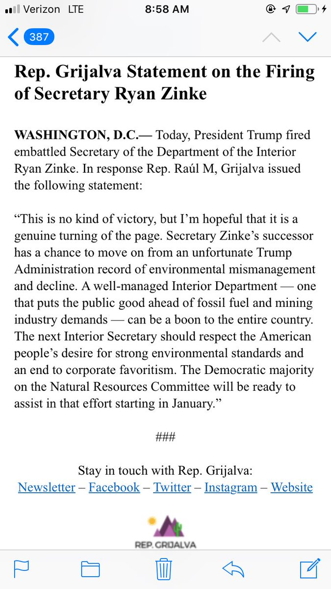 .@RepRaulGrijalva on Zinke's departure: Secretary Zinke's successor has a chance to move on from an unfortunate Trump Administration record of environmental mismanagement and decline.