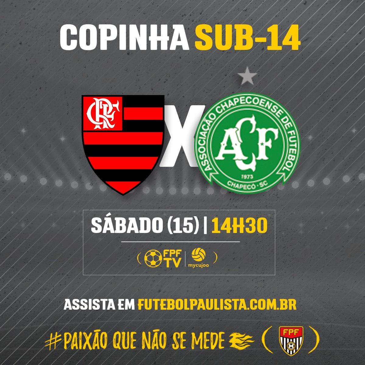 FUTEBOL AO VIVO! Flamengo e Chapecoense medem forças neste sábado (15), em jogo da Copinha Sub-14. Acompanhe a partida. Link do jogo 👉https://t.co/uUQZiSgstt #PaixãoQueNãoSeMede #FPF #FutebolPaulista #EsseÉoMeuJogo