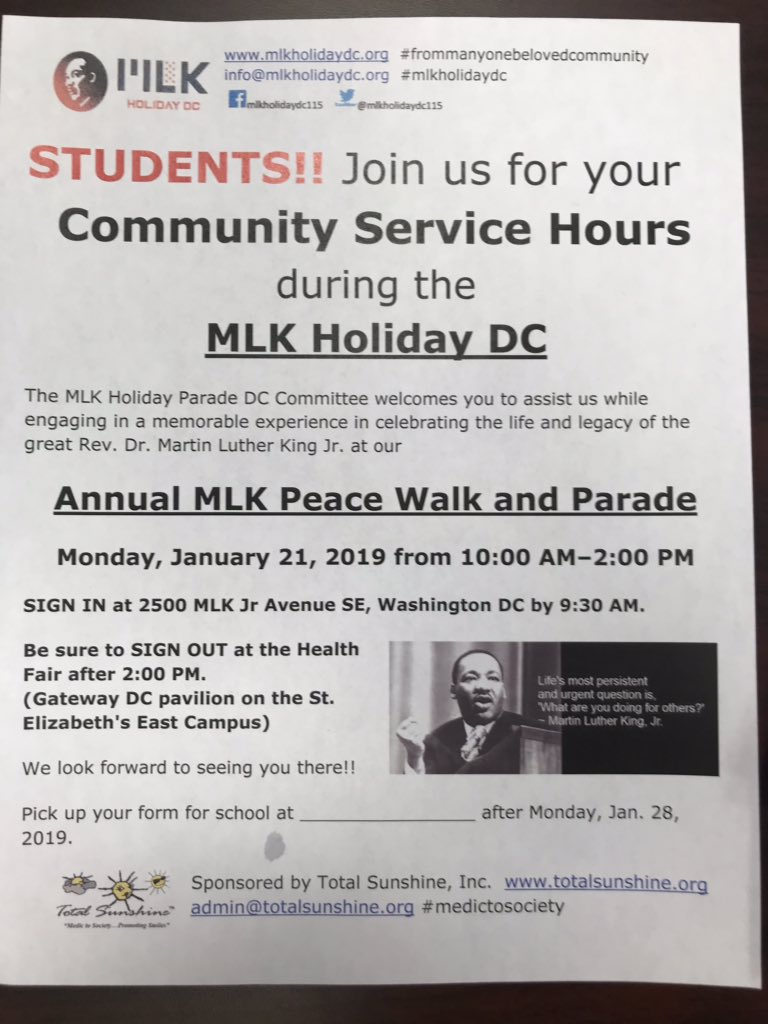 #mlkholidaydc 2019 meeting is NOW @mlkholidaydc115 STUDENTS! Community service hours at Parade & PeaceWalk http://mlkholidaydc.org #medictosociety on duty y'all #mycitymydream #frommanyonebelovedcommunity