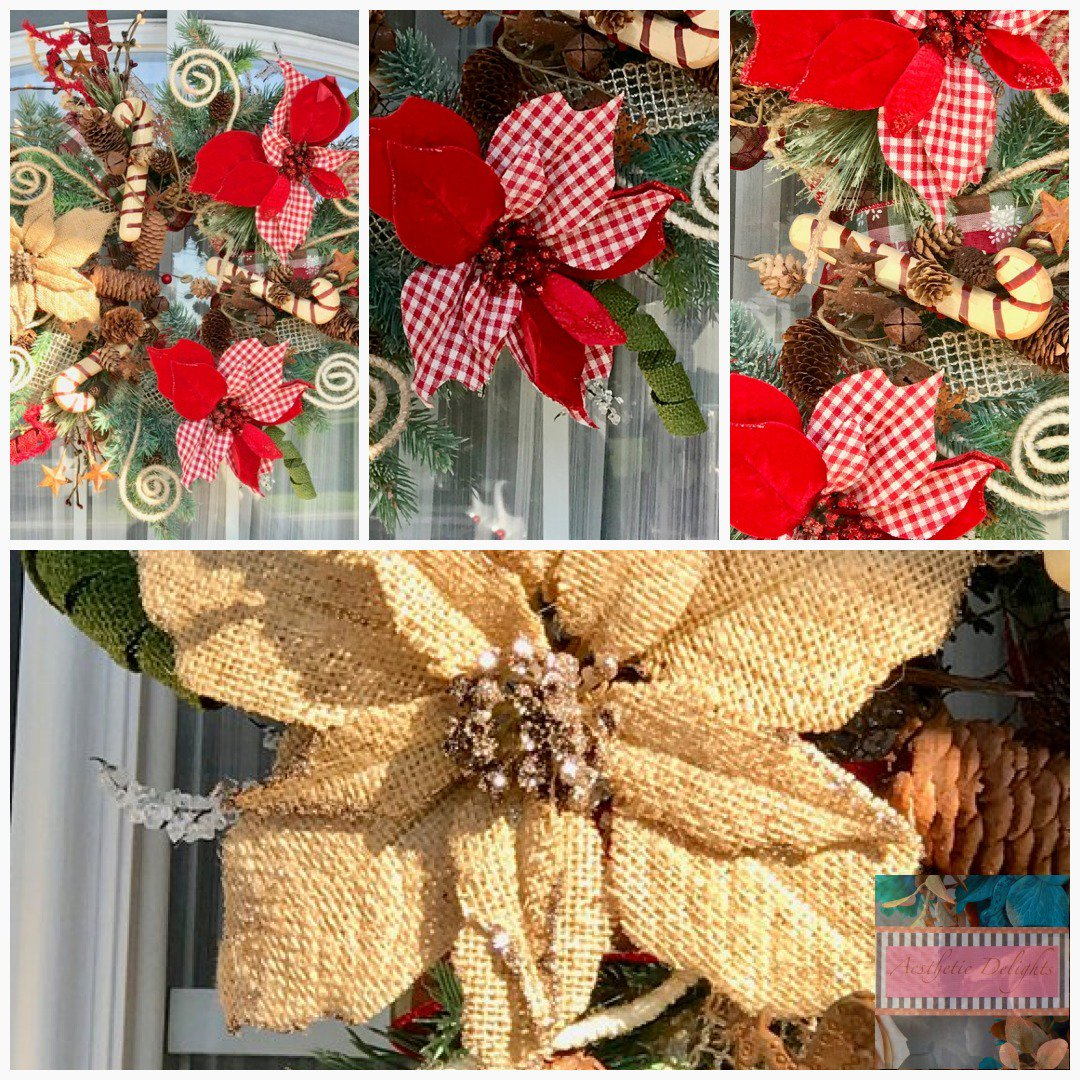 Aesthetic Delights On Twitter Rustic Poinsettia Wreath Candycane Wreath Christmas Wreath Rustic Christmas Wreath Holiday Wreath Xmas Wreath Chicken Wire Wreath Christmaswreath Holidaywreath 100 00 Https T Co Bubhxae9ps Https T Co