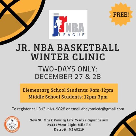 test Twitter Media - COMING SOON: Register for our free Jr. NBA Winter Basketball Clinic on December 27th & 28th! Open to all elementary and middle school students. Check out our flyer to learn more 🏀  #AbayomiCDC #Detroit #Nonprofit #YouthBasketball #CommunityDevelopment #BasketballClinic https://t.co/GHnoR5ip9M