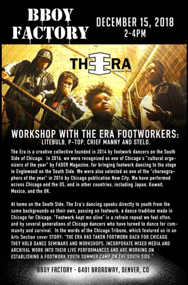 UPDATE! Come out today 12/15 for @we_the_era_ 1st workshop in #DENVER from 2pm - 4pm at the #BBoyFactory | 6401 Broadway | Meet us there and learn some #ChicagoFootwork w/ gang! #theerafootworkcrew #worshop    more at http://www.theerafootworkcrew.compic.twitter.com/gAzPjW6zxg
