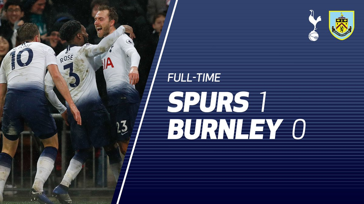 FULL-TIME: We left it late, but @ChrisEriksen8's strike sees us take all three points at Wembley. Get in! 💪  #COYS