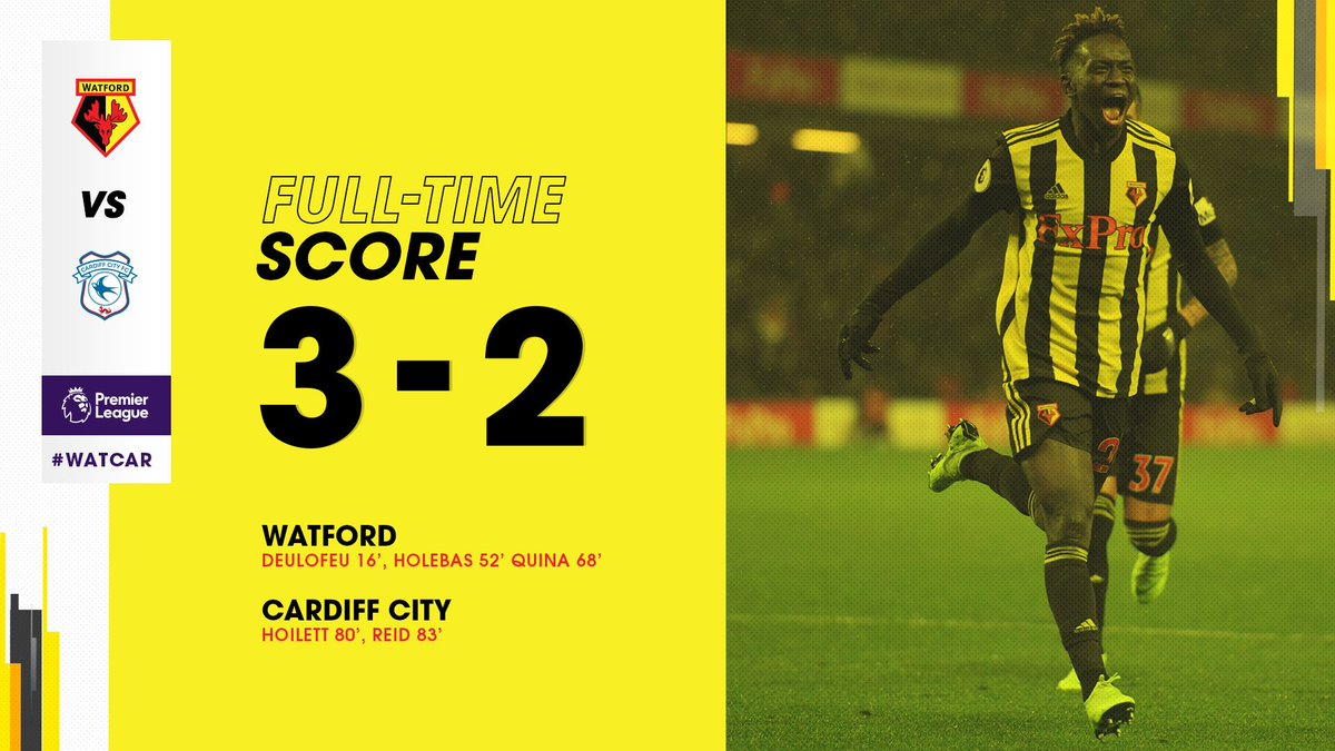 FT   A first half goal from Deulofeu and two crackers after the break from Holebas and Quina see #watfordfc claim all three points.   Two late strikes from Hoilett and Reid made it an uncomfortable last few minutes but the lads held on 👊