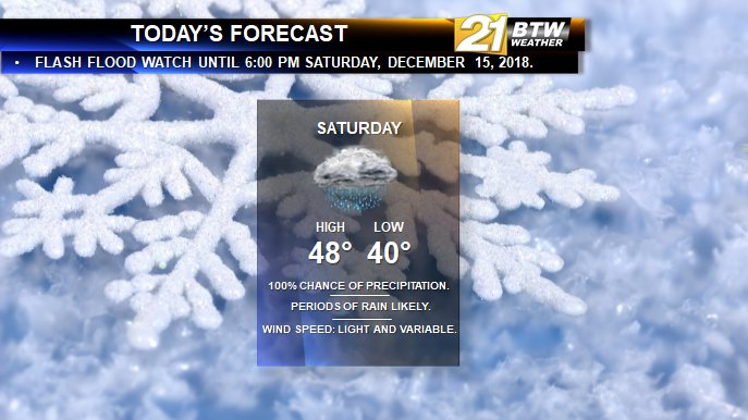 Here is your #BTW21Weather forecast for Saturday, December 15, 2018. More rain showers are likely today, with a flash flood watch until 6:00 PM this evening. #BTW21<br>http://pic.twitter.com/i8rxduljo6