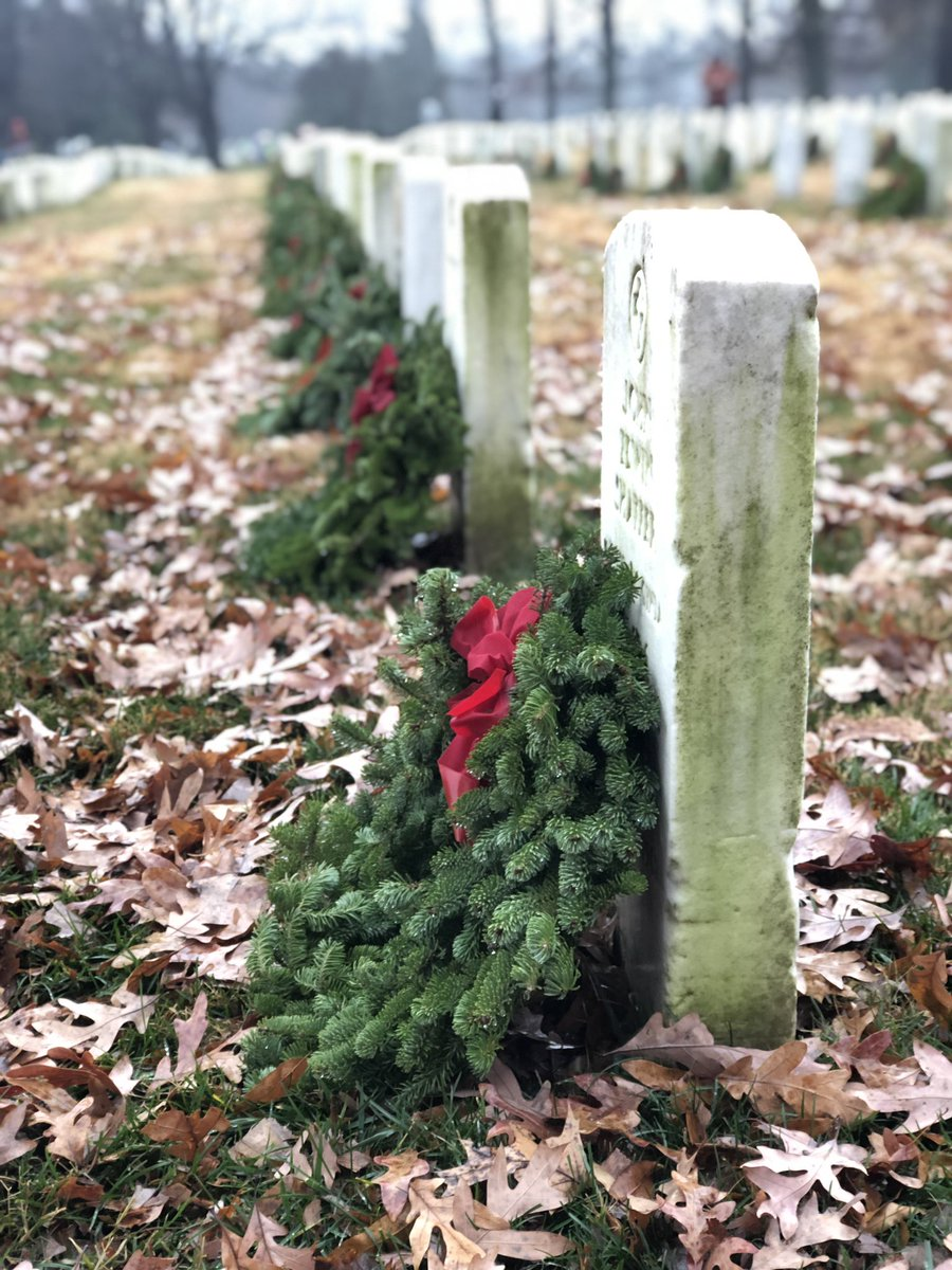 NGA's Veterans Council coordinated the Agency's involvement in the national @WreathsAcross event today. NGA employees placed wreaths at cemeteries in Virginia, Missouri and Illinois. #WAA2018