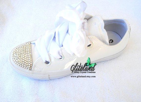 c70a64ca6bb4 Swarovski Womens Converse Chuck Taylor All Star Big Eyelets Lo Sneaker  Blinged with SWAROVSKI® Crystals