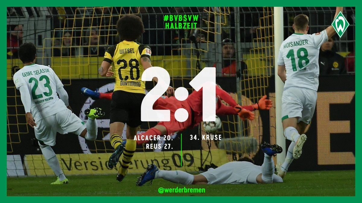 ⏱ 45. Min  Pausenpfiff in Dortmund. #Werder lebt noch.  ⚽️ 2:1 #bvbsvw