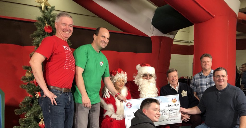 Thank you to @TPFFA and all the volunteers that make the kids Christmas party happen. $30,000 donated to @VarietyVillage this afternoon! @TorontosMayor @Toronto_Fire @cllrainslie @TPFFAPres @TPFFAvp @santaclaus #givingback<br>http://pic.twitter.com/Tu1uhLUSHs