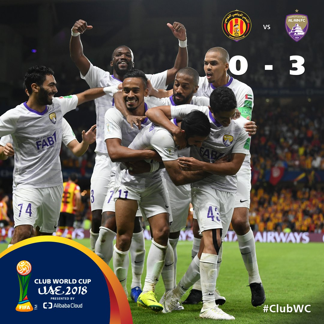 #ClubWC   FT  🇹🇳@ESTuniscom 0-3 @alainfcae_en🇦🇪  Victory for the host team in Al Ain sets up semi-final tie with @Libertadores winners 🇦🇷@CARPoficial