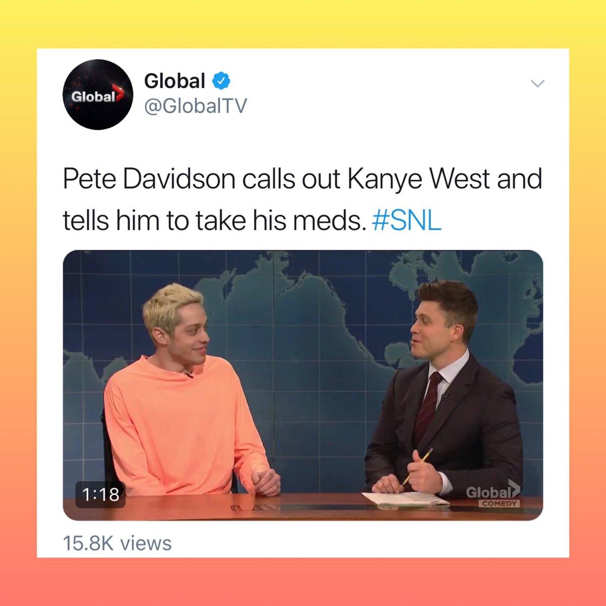 E A COISA NÃO PARA: Pete Davidson sai em defesa de Kanye West contra Ariana Grande, porém é lembrado que ele já fez piada com saúde mental do rapper no SNL