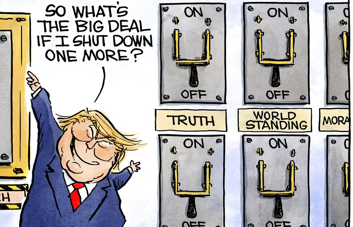 [Cartoon] President Trump's threat to shut down the government is just another switch for him to flip. At this point, what's the big deal? https://t.co/AkEqQBtnHK