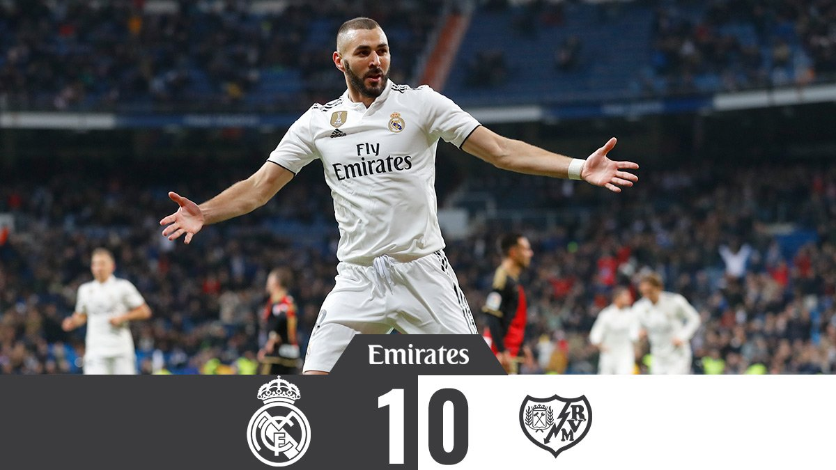 🏁 FT: @realmadrid 1-0 @RayoVallecano ⚽ @Benzema 13 #Emirates | #HalaMadrid