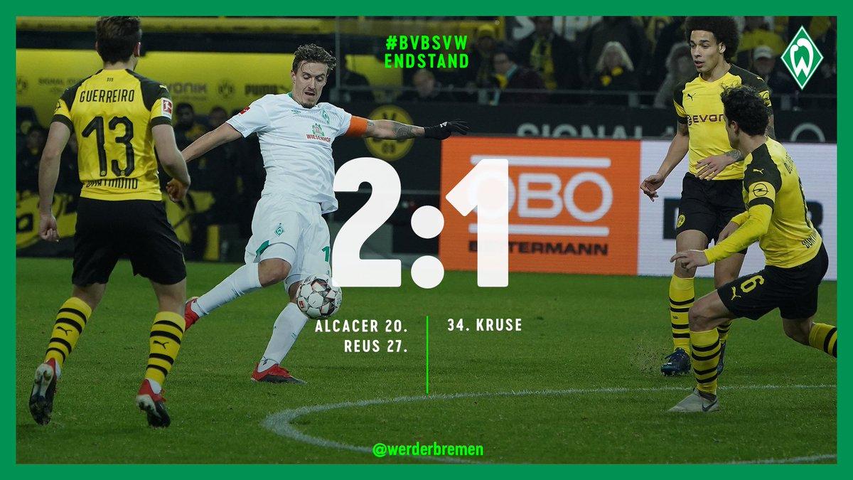 ⏱ 90. + 5 Min   Eine engagiert zweite Halbzeit wird leider nicht belohnt. #Werder unterliegt beim @BVB.    ⚽️ 2:1 #bvbsvw