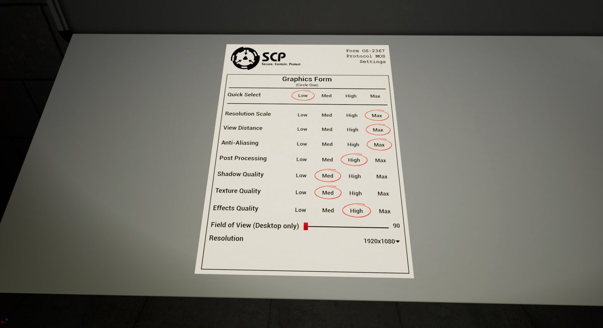 A WIP on a 3D space graphics menu for SCP: Blackout  It