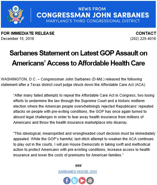 Rep John Sarbanes On Twitter My Statement On The Gop S Latest Assault On Americans Access To Affordable Health Care Https T Co No9x5ibzn4