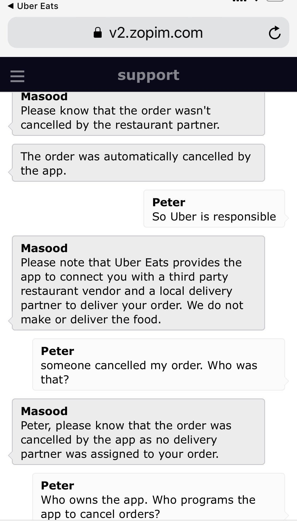 "Peter Ndoro on Twitter: ""3/3 in the end all I wanted was for them to say we  #uber #ubereats @uber @Uber_Support let you down & we are sorry. Sadly that  was just"
