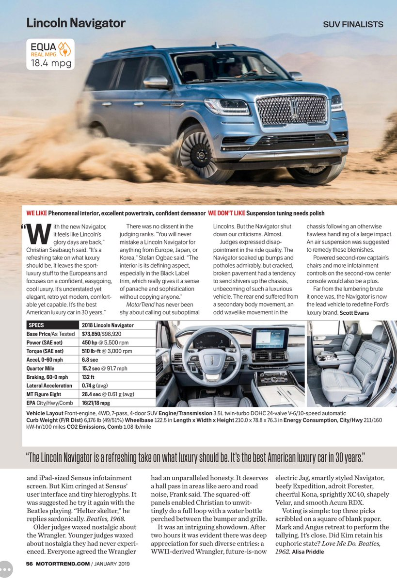 """Motor Trend: """"a refreshing take on what luxury should be... confident, easygoing, cool... understated yet elegant, retro yet modern, comfortable yet capable... the best American luxury car in 30 years... a sense of panache and sophistication without copying anyone."""" #Navigator"""